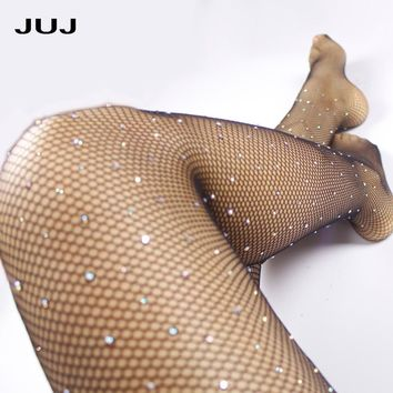 2018 Sexy Diamond Womens Fishnet Tights Mesh Pantyhose Rhinestone Nylons Lady Stockings Shiny pantyhose Collant Hosiery Fish Net