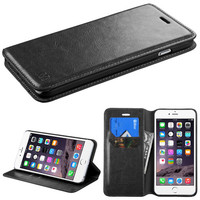 Book-Style Flip Stand Leather Wallet iPhone 6 Plus Case - Black