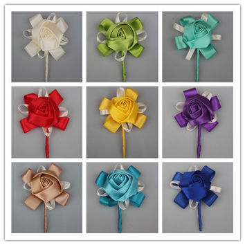 5 Pcs/Lot New Best Man Groom Boutonniere Silk Satin Rose Flower men buttonhole Wedding Party Prom Man Suit Corsage Pin Brooch
