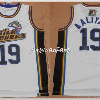 yingyuanFang Stitched #19 Aaliyah Bricklayers Basketball Jersey 1996 MTV Rock N Jock White Mens t-shirts free shipping