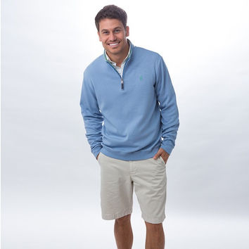 1/4 Zip Pullover in La Jolla Light Blue by Johnnie-O