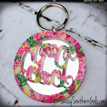 Acrylic Monogrammed Keychain Lilly Pulizter Inspired, Monogrammed Acrylic Key Chain, Monogrammed Keychain, Lilly Pulitzer Monogram