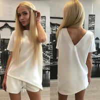 Short Sleeves Pure Color Blouse Shorts Two Pieces Suits