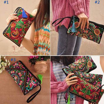 2017 Vintage Messenger Handbag Ethnic Boho Embroidered Floral Bags Shoulder Purse Gift LBY2017