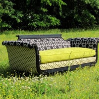 "1930's Remastered Parlor Sofa in Chartreuse/Black/Cream, ""Cherice"""