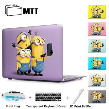 MTT Hard Cover Case For Apple Macbook Pro Retina 13 15 Minions Printed 2016 2017 New Laptop Sleeve For Mac Book Air 11 12 13.3