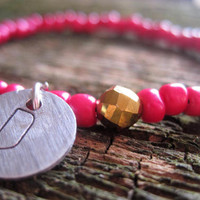 Custom Initial Pink and Gold Charm Bead Bracelet