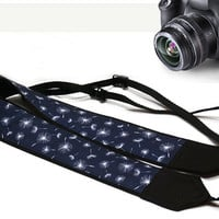 Floral Camera Strap. Nikon, Canon Camera Strap. Dslr Camera Strap. Blue Camera Strap