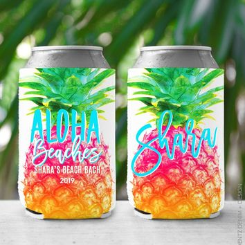 Pineapple Aloha Beaches - Custom Bachelorette Party Can Cooler