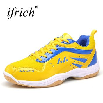 Professional Table Tennis Shoes Men Badminton Shoes Leather Indoor Court Shoes Breathable Training Sneakers Brand Trainers Men