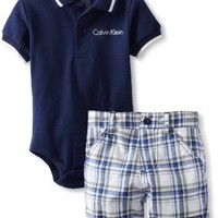 Calvin Klein Baby Boys' Polo Bodysuit with Plaid Shorts, Blue, 18 Months