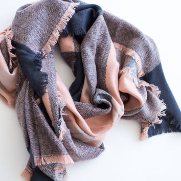 Serena Navy & Pink Plaid Scarf