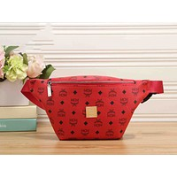 MCM Women Leather Purse Waist Bag Single-Shoulder Bag Crossbody Red I-KR-PJ