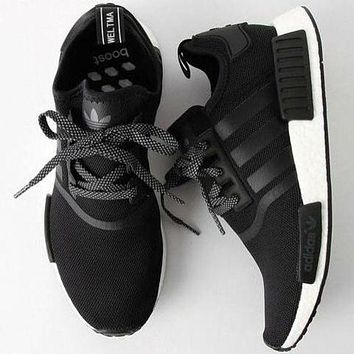 Adidas NMD Trending Unisex Casual Running Sports Shoes Sneakers Black (white sole) I