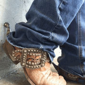 Running Roan Tack - Custom made SPUR STRAPS, cowhide, bling