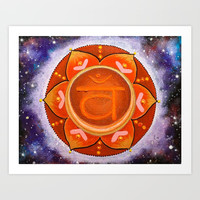 Sacral Chakra Mandala - I feel myself Art Print by Shashira Handmaker