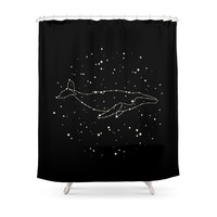 Society6 Whale Constellation Shower Curtains