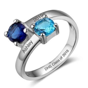 Sterling Silver Personalized 2-Stone Birthstone Graduation Class Ring