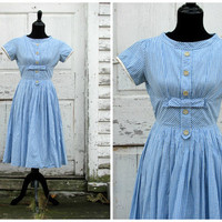 A Perfect Halloween Costume or Christmas Gift/ Darling Vintage Wizard of Oz Dorothy 50s Full Skirt Party Work Day Swing Dress