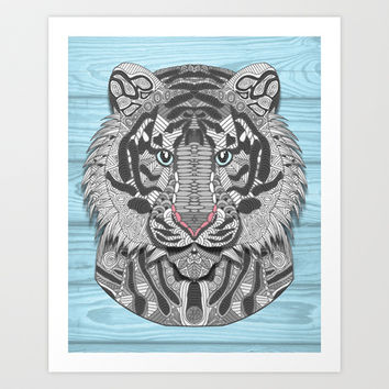 White Tiger Art Print by ArtLovePassion