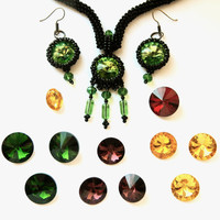 Beaded jewelry set Witch's tricks - black seed bead necklace + earrings + hairclip beadwork: Yellow, Green, Plum Purple, Red rivoli crystals