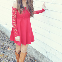Adore Me In Lace Dress: Red