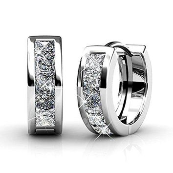 Cate amp Chloe Giselle 18k White Gold Plated Crystal Hoop Earrings with Swarovski Beautiful Sparkling Silver Small Hoops Earring Set Wedding Anniversary Fashion Jewelry  Hypoallergenic MSRP $125