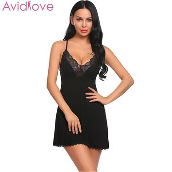 Avidlove Women Night Dress Nighty Sleepwear Lingerie Sexy Women Babydoll Chemise Lace Patchwork Nightwear with G-String