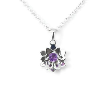 Sterling Silver Round Amethyst Lotus Pendant Necklace
