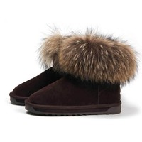 Fashion Fur Trimmed Leather Ankle Boots