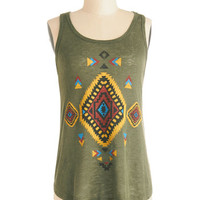 ModCloth Festival Mid-length Racerback Dawn the Road Again Top