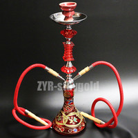 Narguile hookah set chicha complete 2 hoses nargile ceramic bowl shisha glass hookah blue red yellow black water pipe set