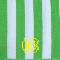 Monogrammed Cabana Stripe Beach Towel | Personalized at Marley Lilly