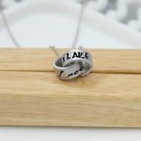 Hand Stamped Jewelry - Aluminum Intertwined Ring necklace - couples ring necklace