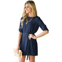 Navy Blue Waist Bow  Loose Mini Dress