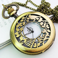 Vintage Necklace Steampunk Pocket Watch Chain (PWAT0105)