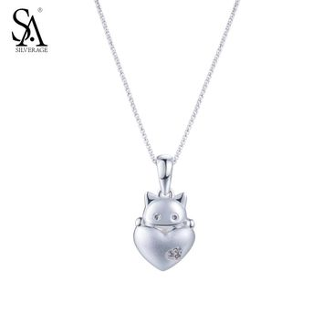 SA SILVERAGE Real 925 Sterling Silver Necklaces  Matte Silver Lucky Cat Heart Shape Charm Pendant Necklace Fine Womens Jewelry