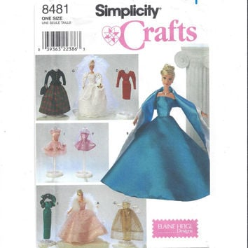 Simplicity 8481 Pattern for 11.5 Inch Fashion Doll Clothes, FACTORY FOLDED, UNCUT, Design Elaine Heigl, From 1998, Home Sew Pattern, Crafts