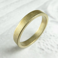 Brushed 4MM Gold Low Profile Wedding Band