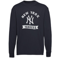 47 Brand New York Yankees Pitch Hit Long Sleeve Flanker T-Shirt - Navy Blue