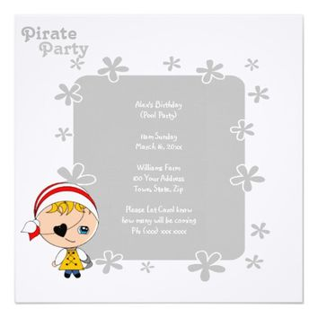 Cute Pirate Pool Party Invitation