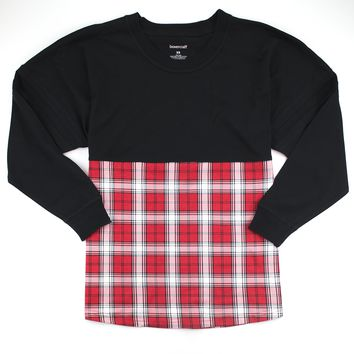 Black and Red Plaid Pom Pom Jersey