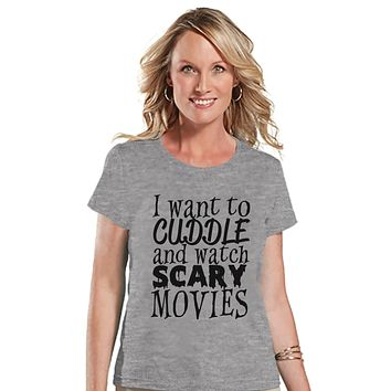 Watch Scary Movies Tshirt - Halloween Party Shirt - Adult Halloween Costumes - Funny Halloween Shirt - Women's Costume - Ladies Grey T-shirt