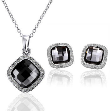White and Gold Rhinestone Square Shape Necklace And Earrings