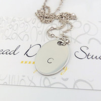 Mens ID Tag Necklace. Personalized Pendant. Male Jewelry