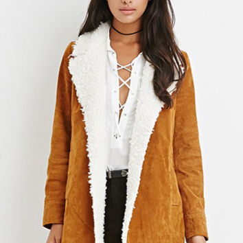 Faux Shearling-Trim Genuine Suede Coat