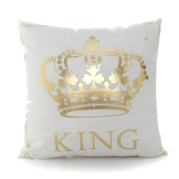 Cool Bronzing Cushion Covers King Queen LetterMoon Lips Cute Throw Pillow Covers 45x45cm Decorative Square Pillowcase Sofa Home DecorAT_93_12