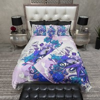 Purple and Teal Octopus and Flowers Bedding
