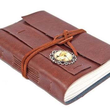 Light Brown Faux Leather Journal with Dragonfly Cameo Bookmark