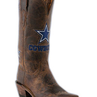 Women's Dallas Cowboys Tan Madras Boots